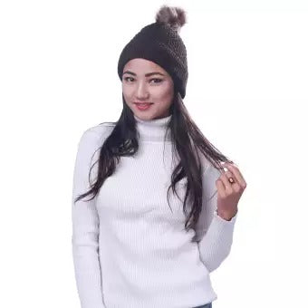 Fashionable Angora Beanies For Ladies - Brown