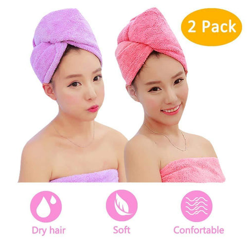 Hair Towels Wrap 2 Pack,Microfiber Hair Towel Twist Cap Soft Absorbent Quickly Dry Hair Turban for Kids and Women (Pink+Purple)