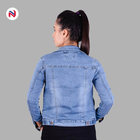 Nyptra Light Blue Stretchable Crop Denim Jacket For Women