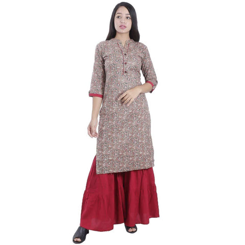 Bisesh Creation Brown Jaykard Cotton print Kurti For women