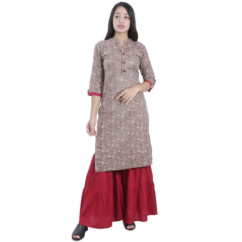 Bisesh Creation Brown Jaykard Cotton print Kurti For women price in nepal