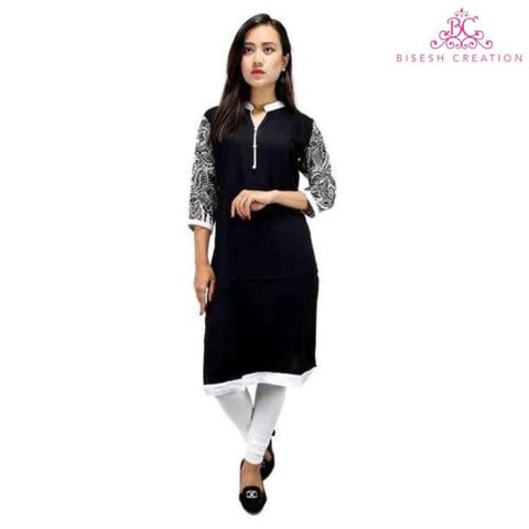 Black Printed Sleeves Rayon Kurti for Women