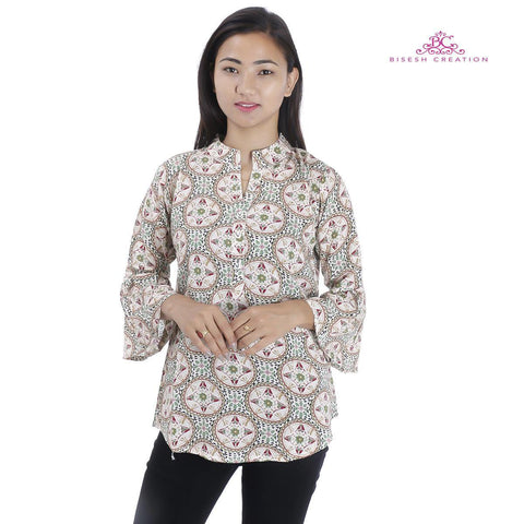 Bisesh Creation Off White Geometrical Printed Mandarin Tunic For Women