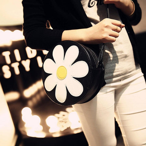 41001233 Flower Round Women's Cross Body Vintage Style Soft PU Leather Bag