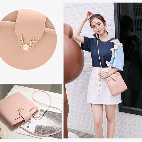 41001284 Women's Fashion Pearl Deer Lock PU Leather Shoulder Bag Pink