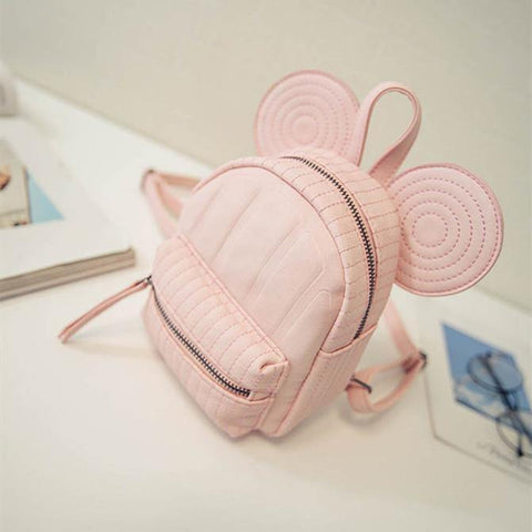 41001377 Cute Ear Mickey Mouse Women Leather Back Pack Bag Mini Teenage Lady Girls