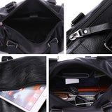 41001443 High Quatily Pu Leather Portable High Capacity Business Portable Hand Laptop Bag-Black