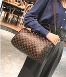 41001616 3 in 1 Lattice Design Vintage PU Leather Women Organizer Handbag
