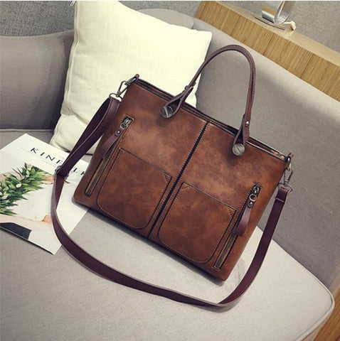 41001630 Pu Leather Vintage Multi Pockets High Quality Women Bag