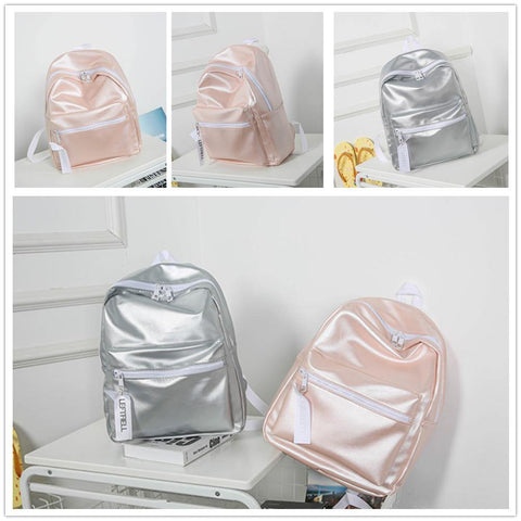 41001704 Hologram Laser Backpack PU Leather Mini Casual Travel Daypack