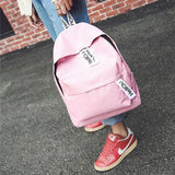41001725 Korean Design Canvas Double Shoulder Package School Bag Travel Backpack Pink