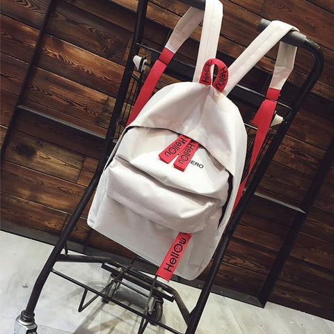 41001727 Korean Design Canvas Double Shoulder Package School Bag Travel Backpack White