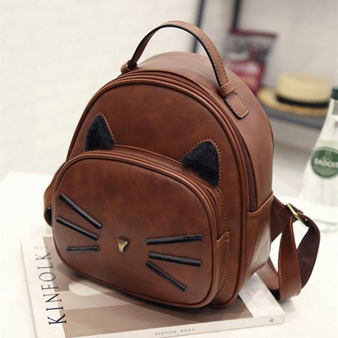 Girl's Mini Faux Leather Cartoon Cat Pattern Backpack Travel Rucksack Black