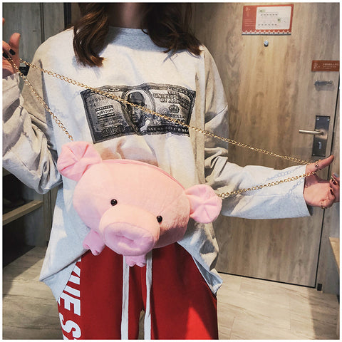 Cute Pink Pig Head Single Shoulder Slung Round Chain Messenger Bag
