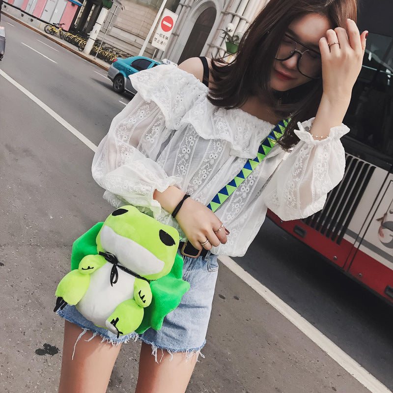 41001996 Green Plush Frog Japanese Cartoon Art Schoolbag Stuffed Animal Toy Shoulder Bag