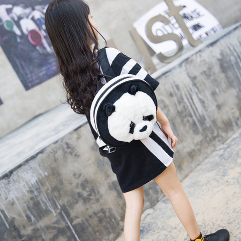Cute Panda Baby Round Backpack Children Small Plush Cartoon Girls Kids Travel Shoulder Bags
