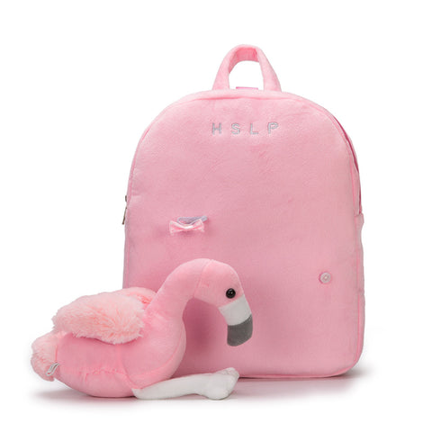 41002000 Cute Flamingo Plush Toy Kids Cartoon Travel Shoulder Bags School Backpacks