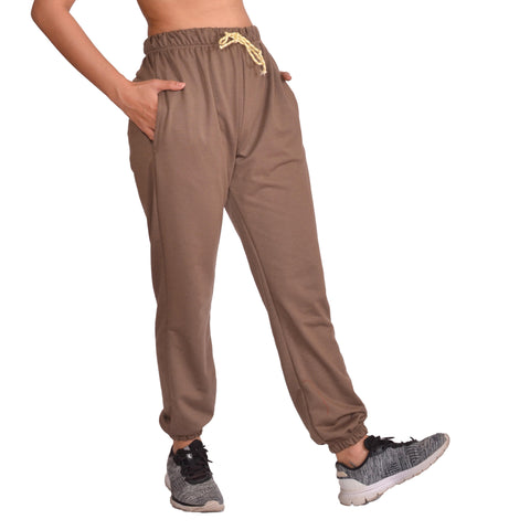 Brown Solid Joggers For Women