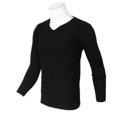 Casual Slim Fit Sweater Men Classic Pure Black Pullover Men Solid Color V-Neck Pull Homme Cashmere Wool Sweaters Shirts By Bajrang price in nepal