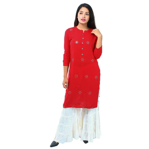 Red & White Pure Rayon Top With Gharara Ready Made Printed Kurti For Women