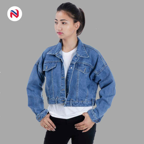Nyptra Light Blue Solid Denim Jacket For Women