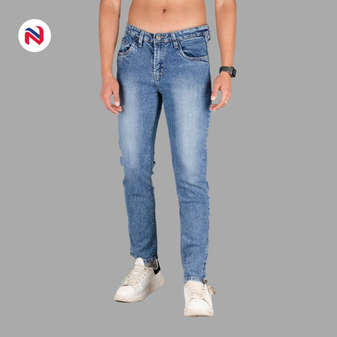 Blue Stretchable Premium Jeans For Men Stretchable, Slim fit and choose Cotton and elastane blend 5-pocket mid-rise jeans waistband with belt loops Machine-wash Nyptra Blue Stretchable Premium Jeans For Men