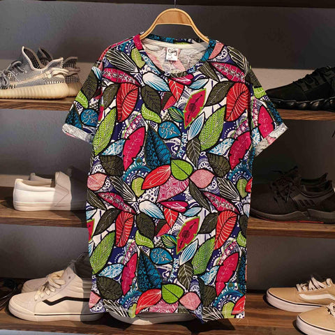 Abstract Leaves Pattern Summer T-Shirt For Men
