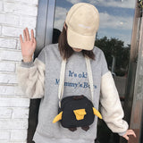 41001918 Funny Duck Simple Casual Stylish Canvas Shoulder Bag Black