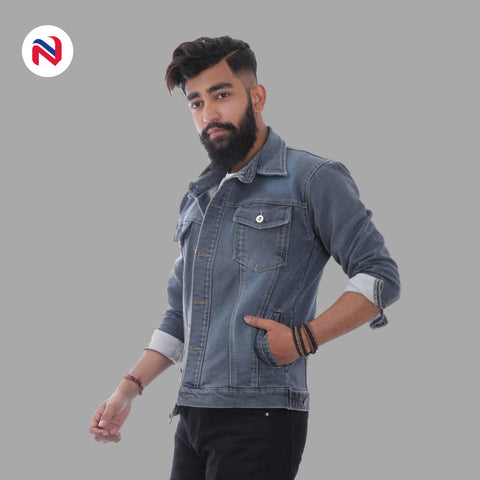 Nyptra Grey Solid Stretchable Denim Jeans Jacket For Men price in nepal