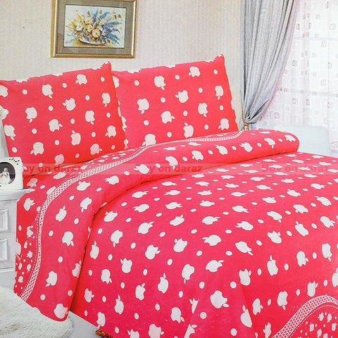 Home Glace Cotton 1 Bed Cover Set,1 Bed Sheet For Double Bed, 2 Pillow Covers, 4 Pcs Set