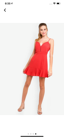 Zalora Fluted Hem Camisole Dress