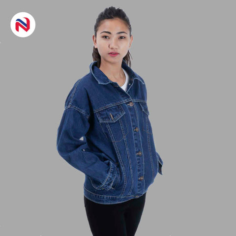 Nyptra Dark Blue Over Size Solid Denim Jacket For Women price in nepal