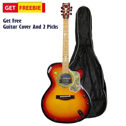 Sunburst Indian Guitar With Free Cover And 2 Picks