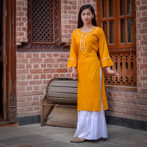 Fabric : Rayon· Neck : Mandarian Collar· Front Buttoned· Sleeves: Quarter Sleeves· Occasion: Casual, Daily, Smart Casual· Wash Care: Gentle Wash Price in Nepal