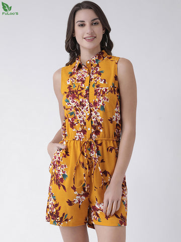 Women Yellow & Red Printed Playsuit price in nepal