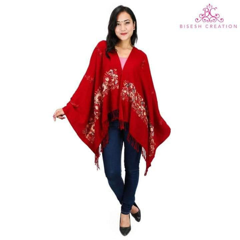 Bisesh Creation Red Border Work Pashmina Shawl For Women