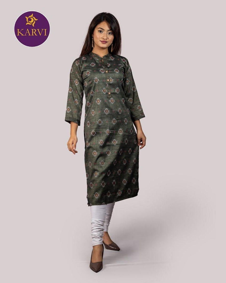 KARVI Grey Dhaka Design Print Kurti for Women with Front Button price in Nepal