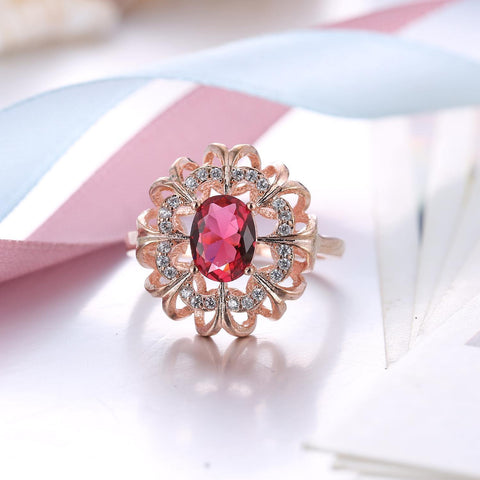 Elegant Pink Crystal White Rose Gold Flower Design Ring