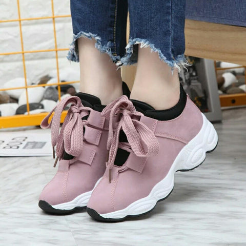 Genuine Light Pink Lace-up Sneakers For Women