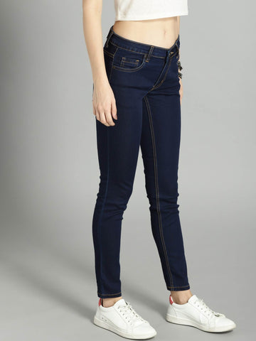 RS Women Navy Skinny Fit Mid-Rise Clean Look Stretchable Cropped Jeans in nepal