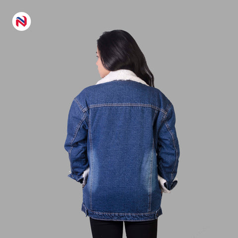 Nyptra Dark Blue Solid Fur Denim Jacket For Women