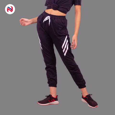 Nyptra Black Plain/Side Stripes Joggers For Women price in nepal