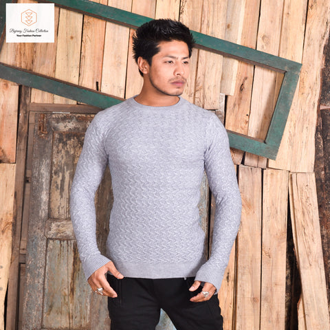 Men Autumn and Winter Slim Fit Long Sleeved Round Neck Warm Simple Sweater By Bajrang  price in nepal