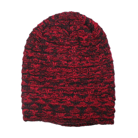 Korean Design Wool Knit Beanie Hat With Fur Inside - Red