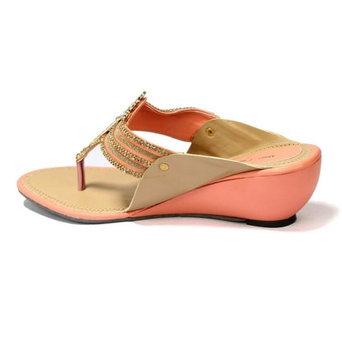 Peach/Brown V Strap Wedge Heel Shoes For Women