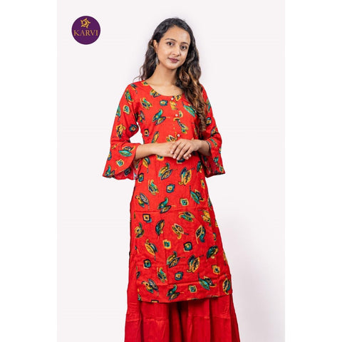 KARVI Red Golden Foil Printed Leaves Design Kurti for Women price in Nepal