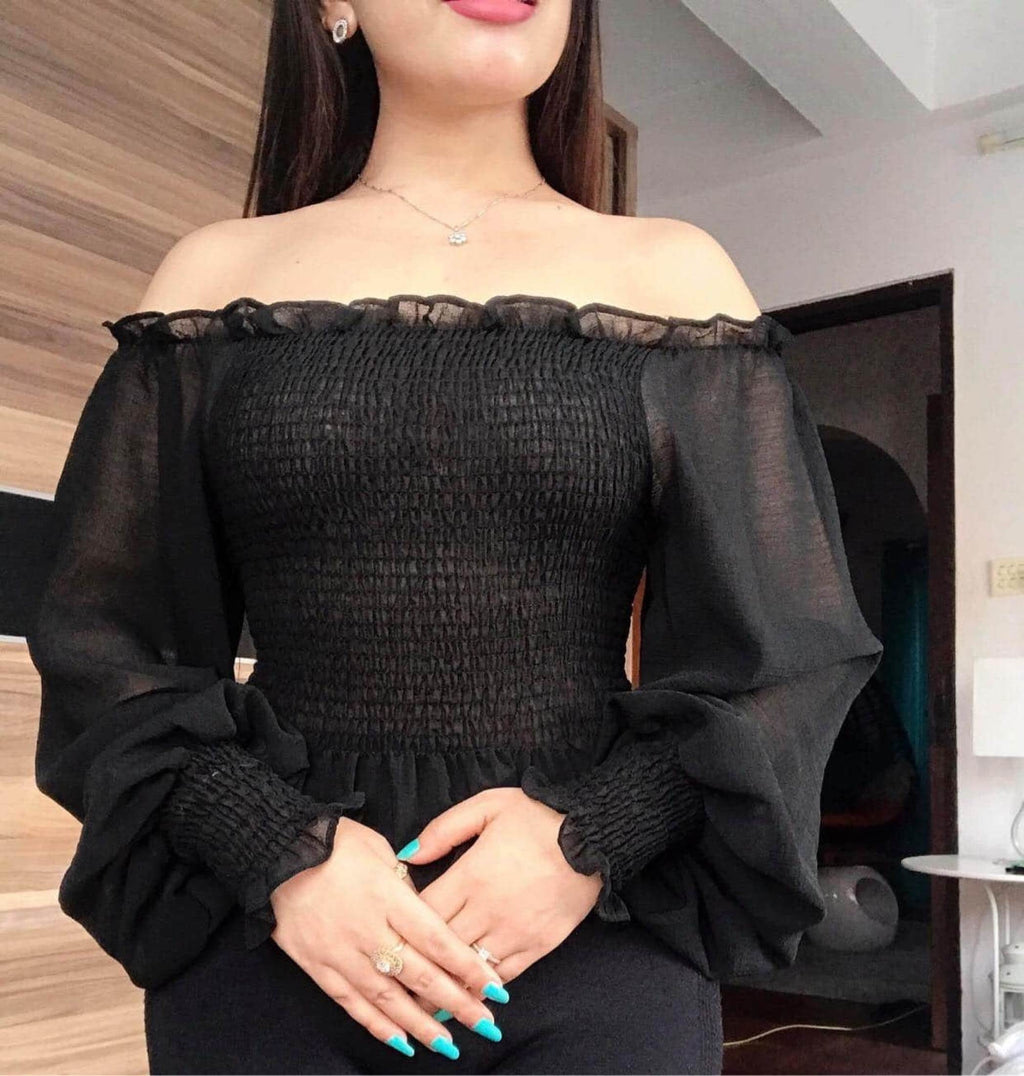 Black Crop Tops With Sheer Sleeve price in nepal