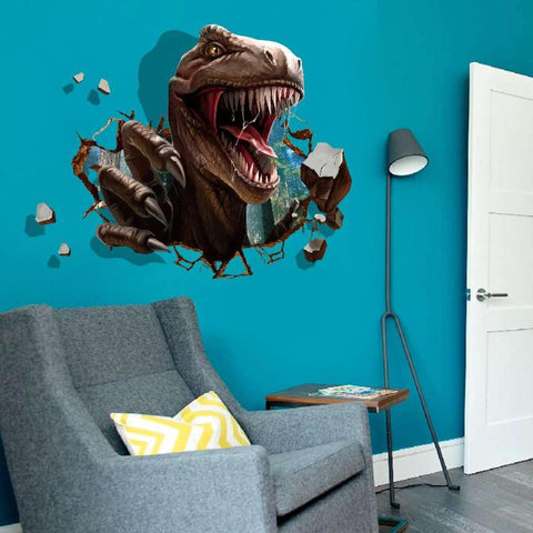3D Dinosaur Wall Decal Trex Coming Through Wall Sticker
