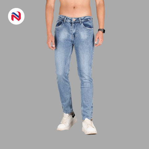 Nyptra Light Blue Blash Stretchable Premium Jeans For Men price in nepal