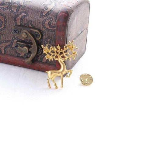 Gold Color Geometric Elk Pattern Alloy Brooch For Women